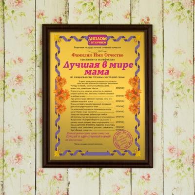 Что подарить партнеру на день рождения  Подарочный диплом плакетка Лучшая в мире мама